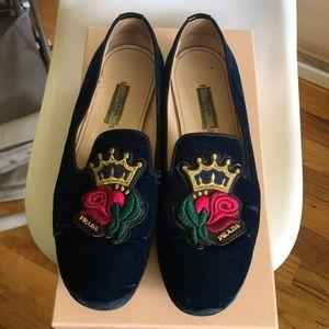 Prada velvet embroidered loafers